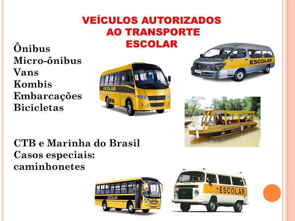 VEÍCULOS AUTORIZADOS AO TRANSPORTE ESCOLAR. Ônibus. Micro-ônibus. Vans. Kombis. Embarcações. Bicicletas.