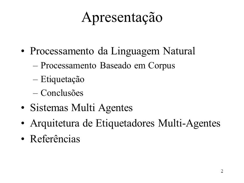 Apresentação Processamento da Linguagem Natural Sistemas Multi Agentes