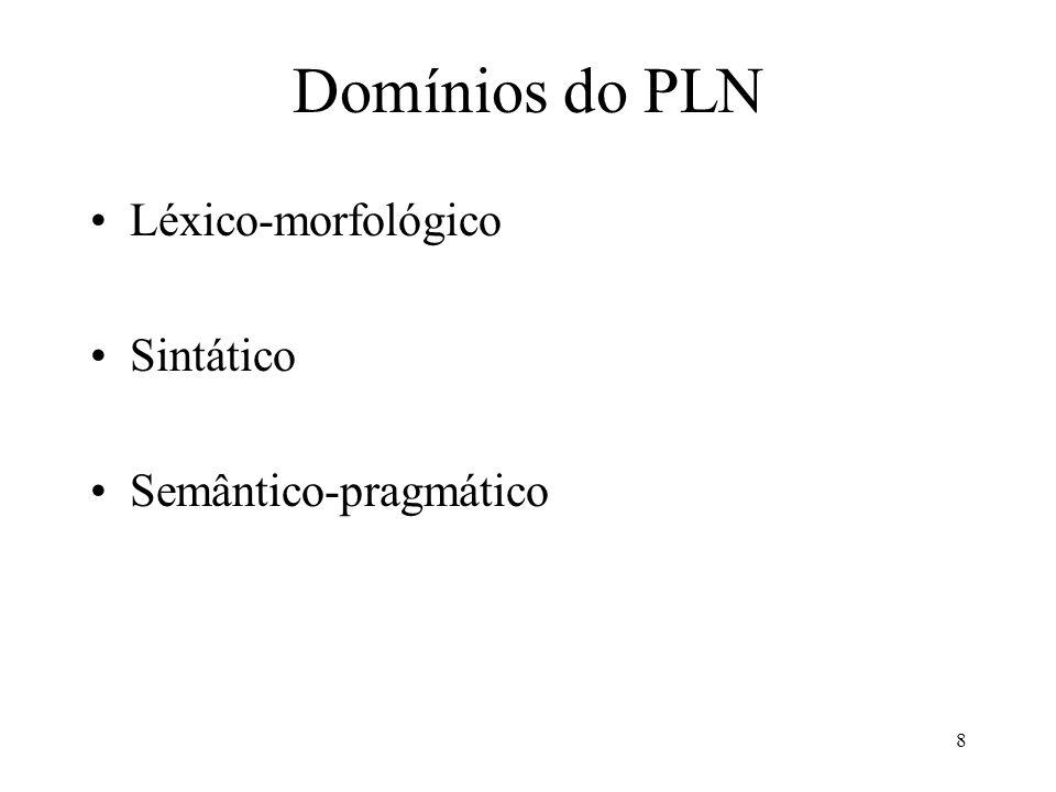 Domínios do PLN Léxico-morfológico Sintático Semântico-pragmático