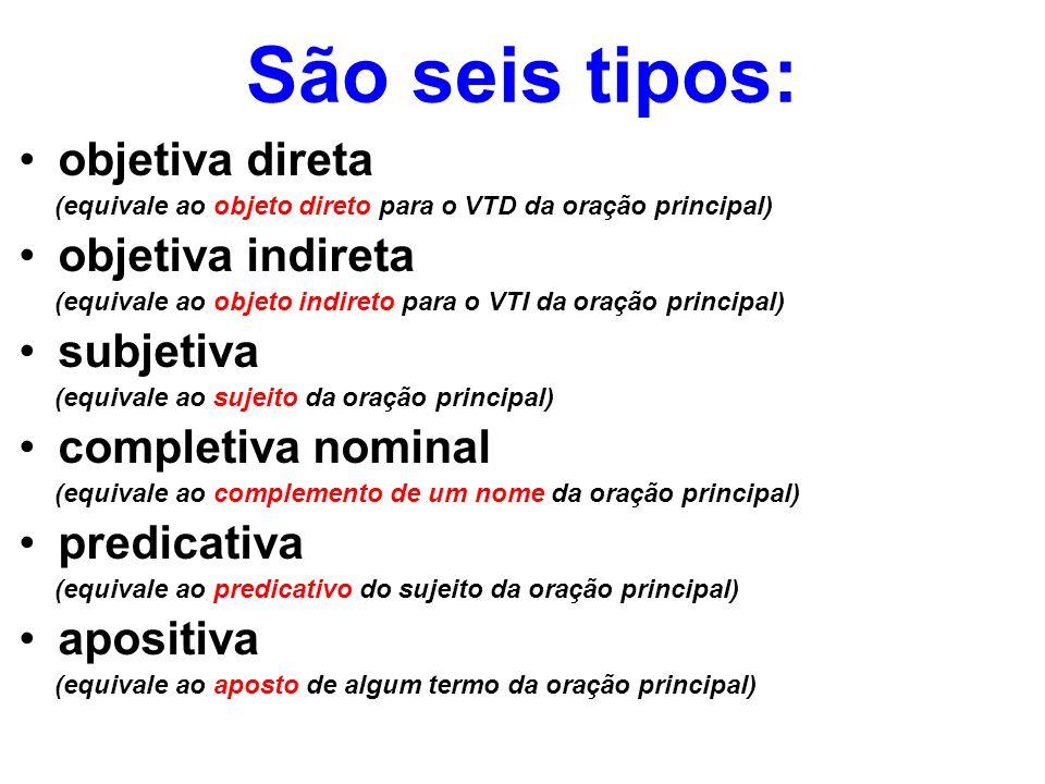 São seis tipos: objetiva direta objetiva indireta subjetiva