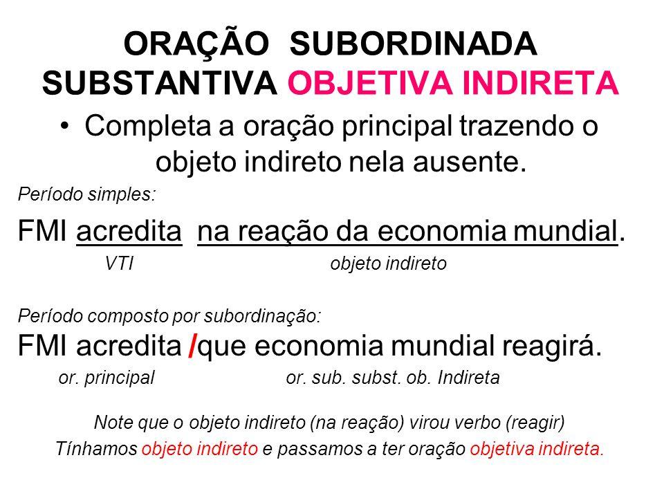 ORAÇÃO SUBORDINADA SUBSTANTIVA OBJETIVA INDIRETA
