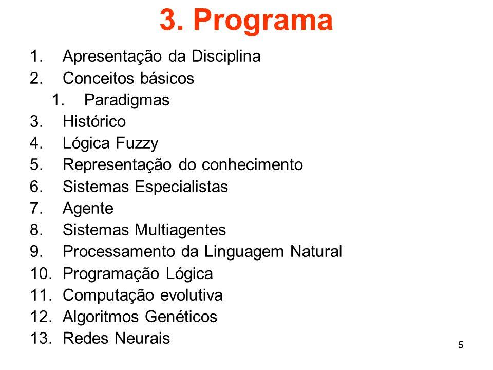 3. Programa Apresentação da Disciplina Conceitos básicos Paradigmas