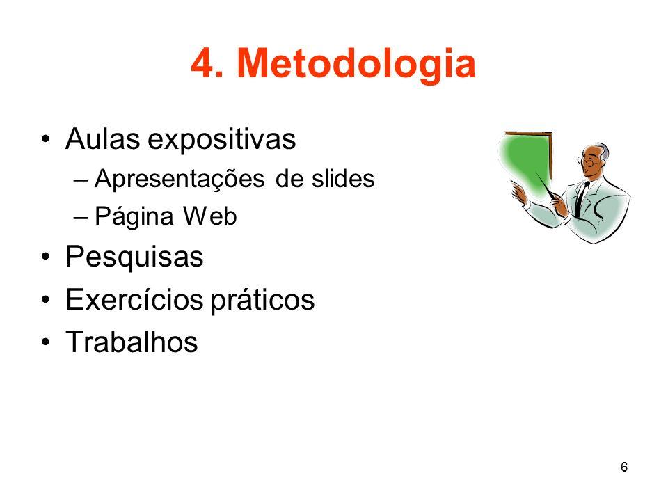 4. Metodologia Aulas expositivas Pesquisas Exercícios práticos