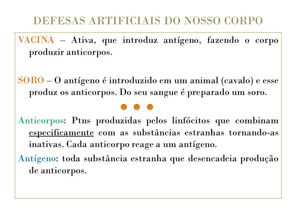 DEFESAS ARTIFICIAIS DO NOSSO CORPO