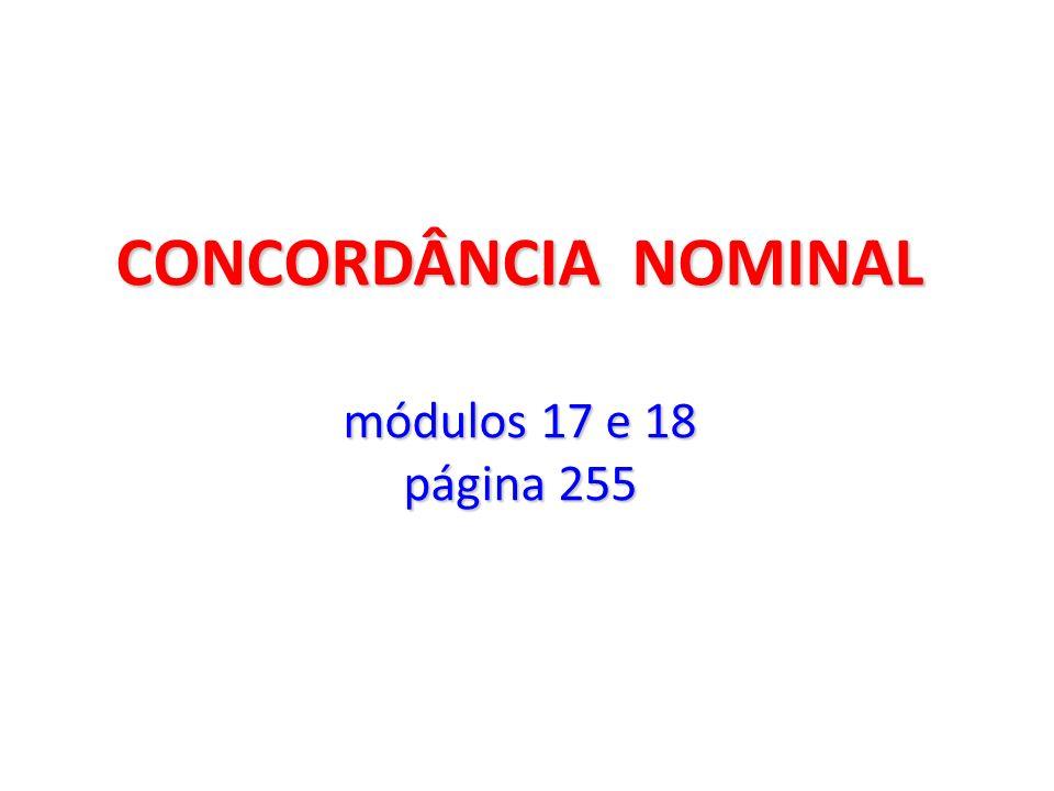 CONCORDÂNCIA NOMINAL módulos 17 e 18 página 255