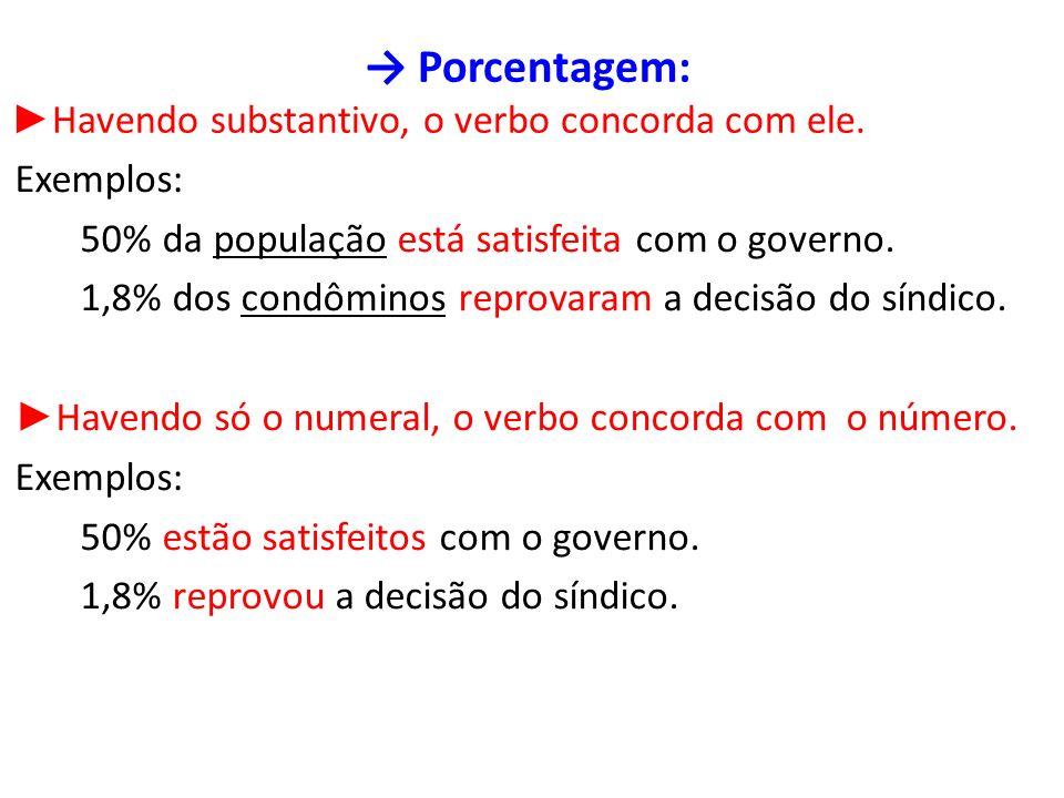 → Porcentagem: ►Havendo substantivo, o verbo concorda com ele.