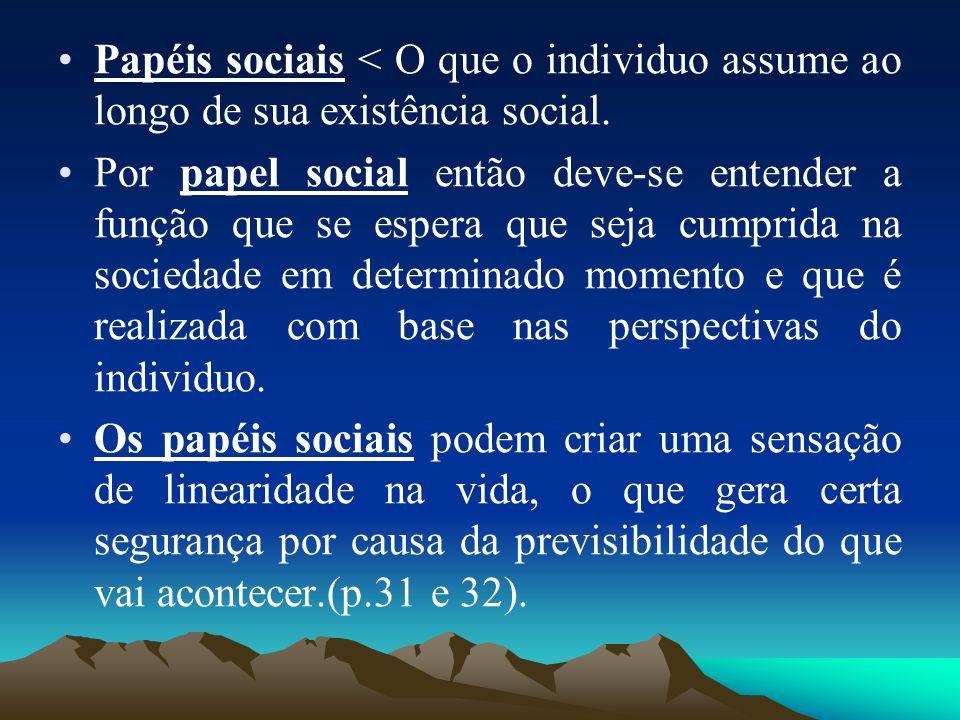 Papéis sociais < O que o individuo assume ao longo de sua existência social.