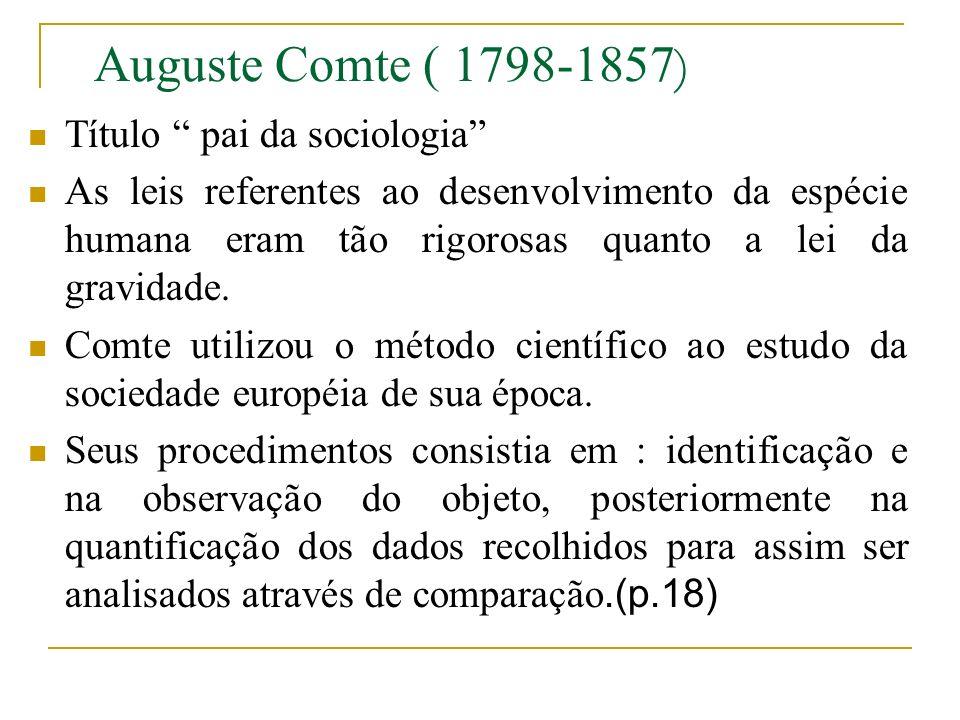 Auguste Comte ( 1798-1857) Título pai da sociologia
