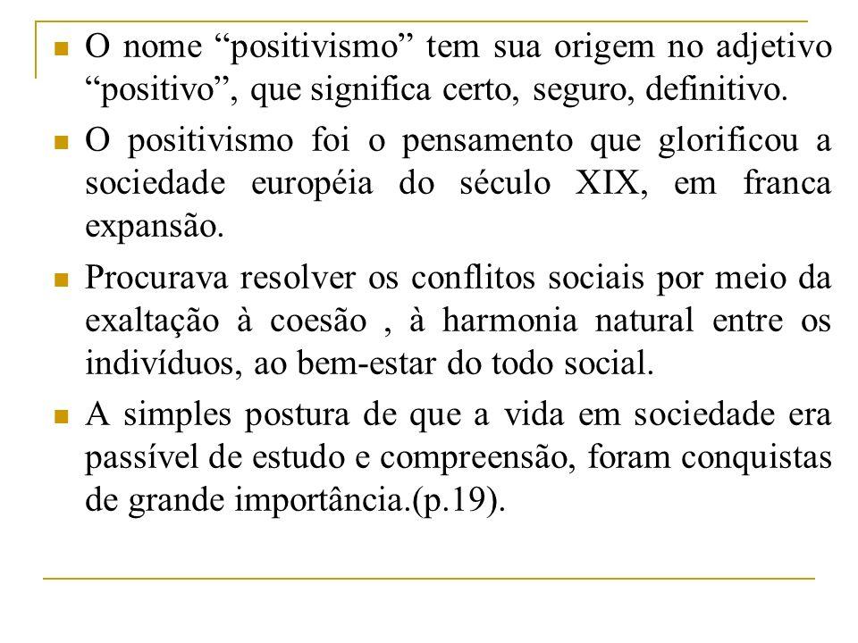 O nome positivismo tem sua origem no adjetivo positivo , que significa certo, seguro, definitivo.