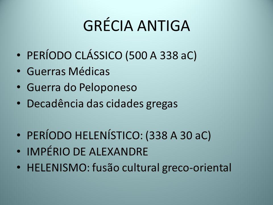 GRÉCIA ANTIGA PERÍODO CLÁSSICO (500 A 338 aC) Guerras Médicas
