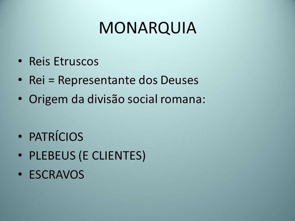 MONARQUIA Reis Etruscos Rei = Representante dos Deuses