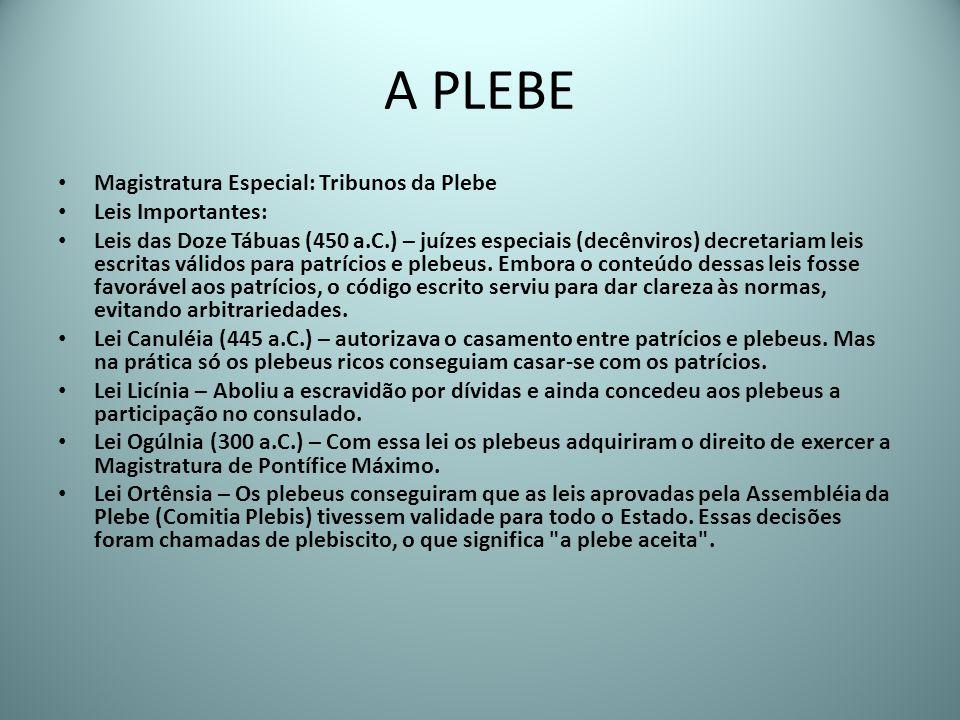 A PLEBE Magistratura Especial: Tribunos da Plebe Leis Importantes: