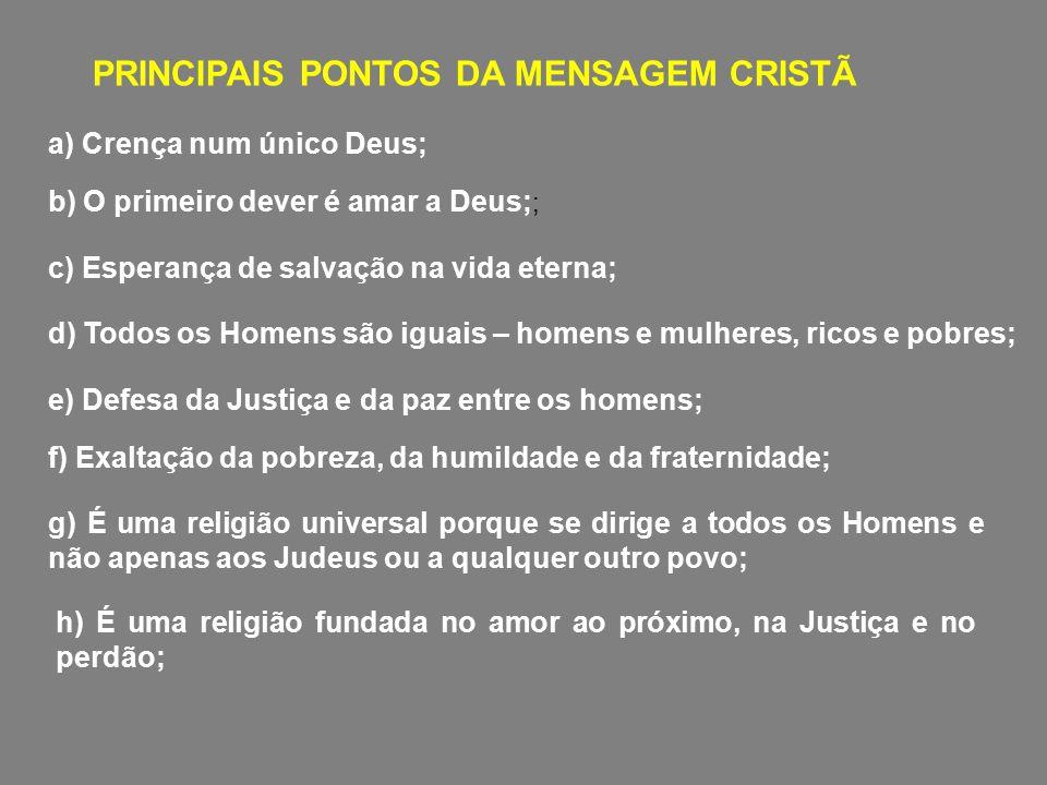PRINCIPAIS PONTOS DA MENSAGEM CRISTÃ