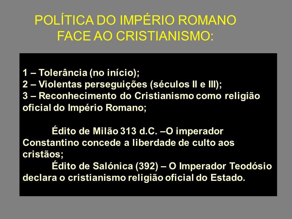 POLÍTICA DO IMPÉRIO ROMANO FACE AO CRISTIANISMO: