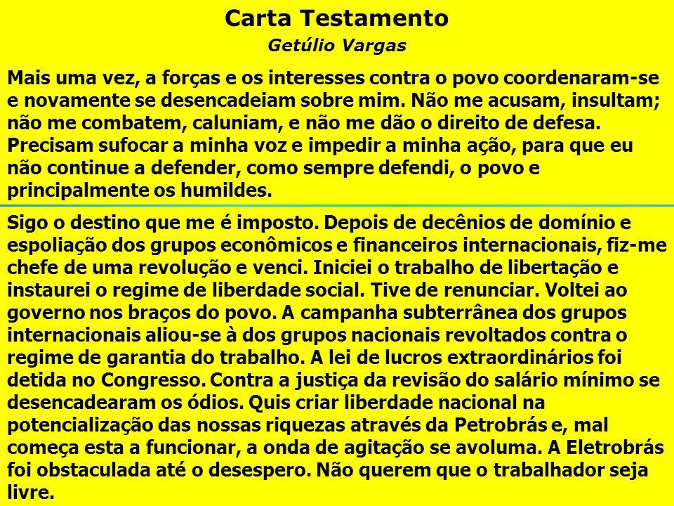 Carta Testamento Getúlio Vargas.