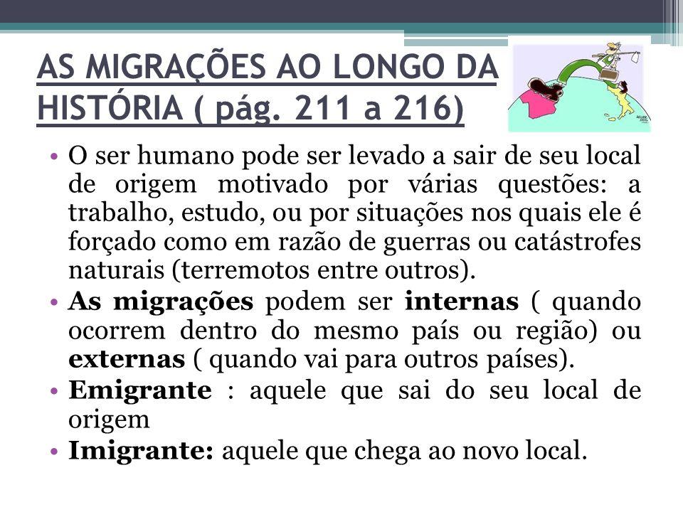 AS MIGRAÇÕES AO LONGO DA HISTÓRIA ( pág. 211 a 216)