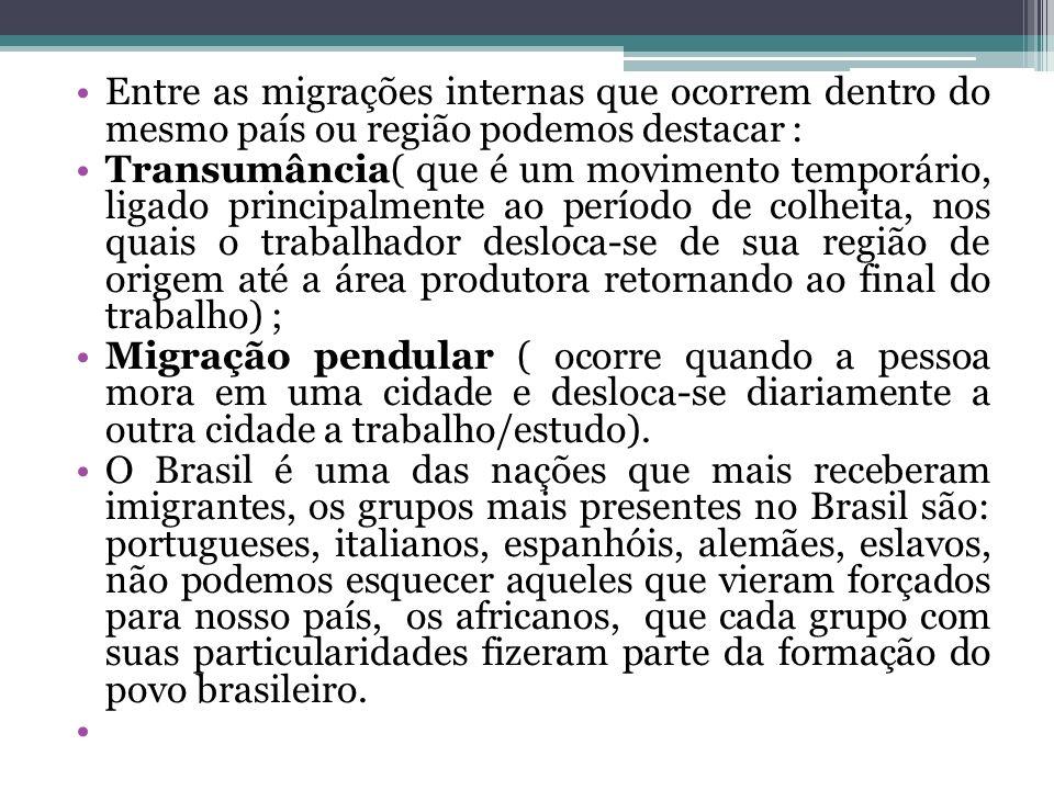Entre as migrações internas que ocorrem dentro do mesmo país ou região podemos destacar :