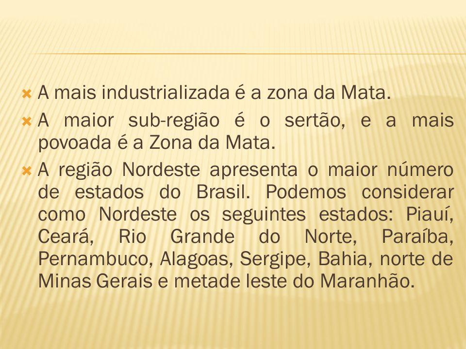 A mais industrializada é a zona da Mata.