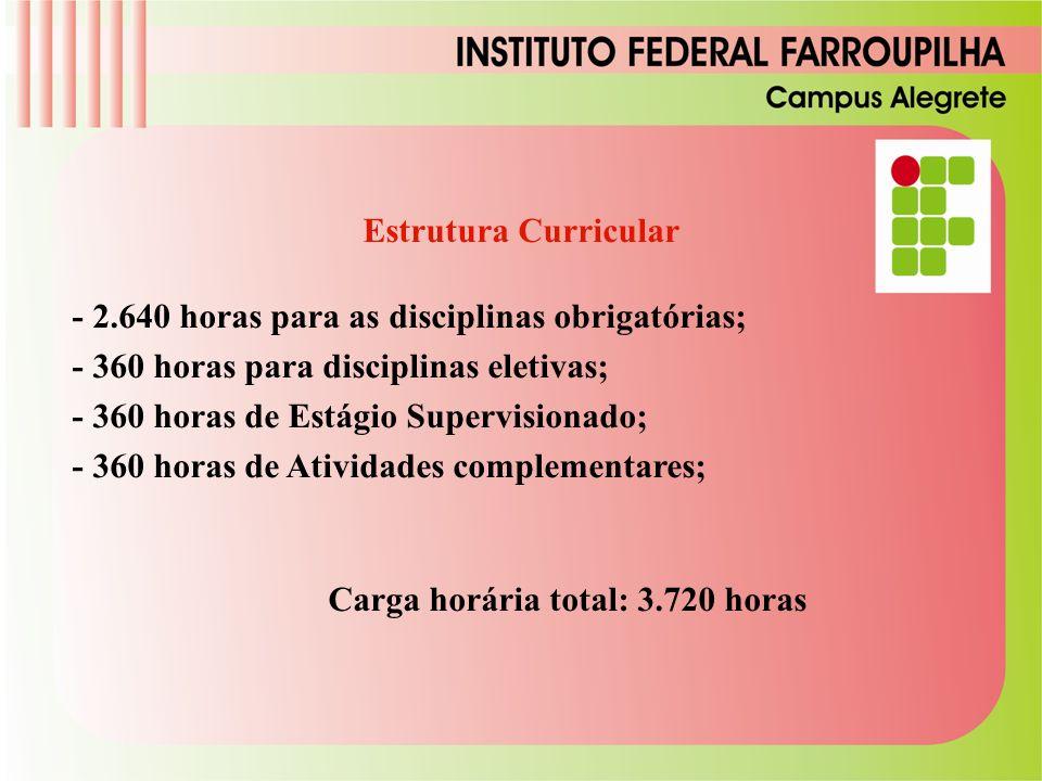 Estrutura Curricular - 2.640 horas para as disciplinas obrigatórias; - 360 horas para disciplinas eletivas;