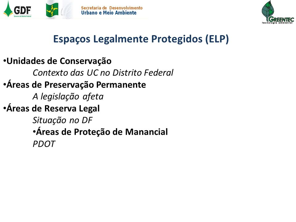 Espaços Legalmente Protegidos (ELP)