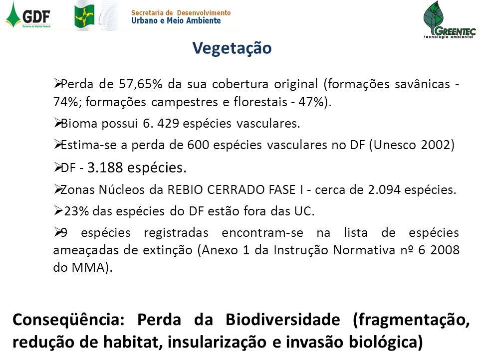 Vegetação Perda de 57,65% da sua cobertura original (formações savânicas - 74%; formações campestres e florestais - 47%).