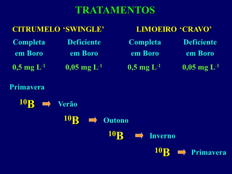 10B 10B 10B 10B TRATAMENTOS CITRUMELO 'SWINGLE' Deficiente em Boro
