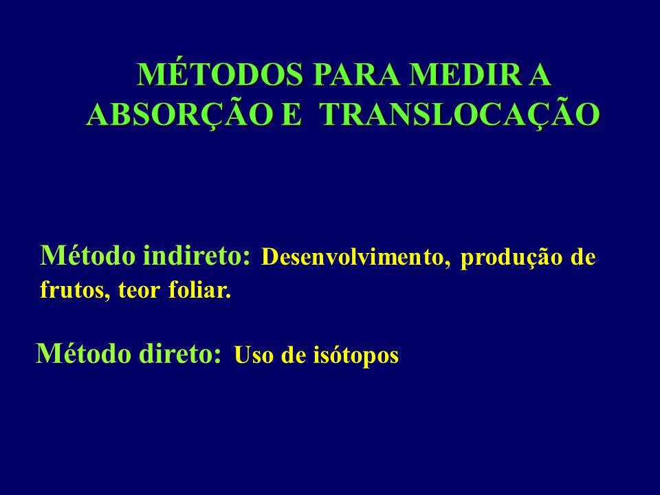 MÉTODOS PARA MEDIR A ABSORÇÃO E TRANSLOCAÇÃO