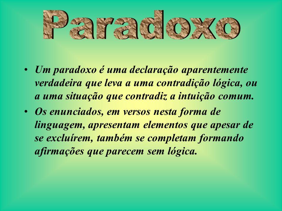 Paradoxo Um paradoxo é uma declaração aparentemente verdadeira que leva a uma contradição lógica, ou a uma situação que contradiz a intuição comum.