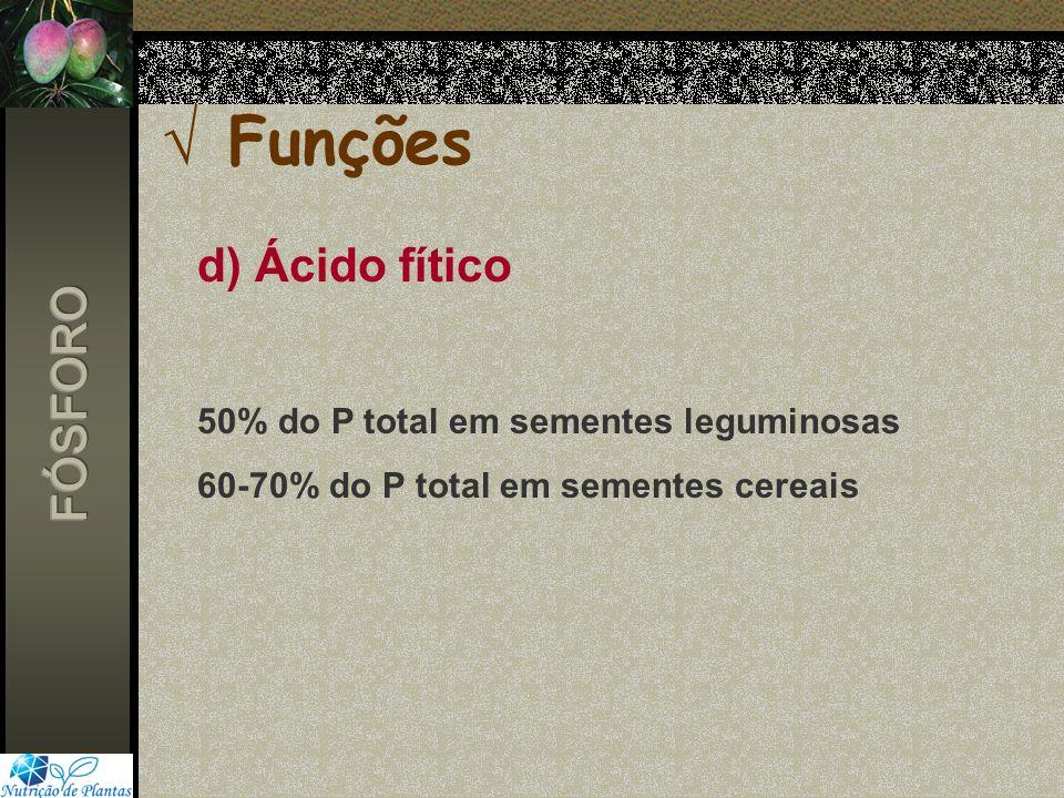 Funções d) Ácido fítico FÓSFORO 50% do P total em sementes leguminosas