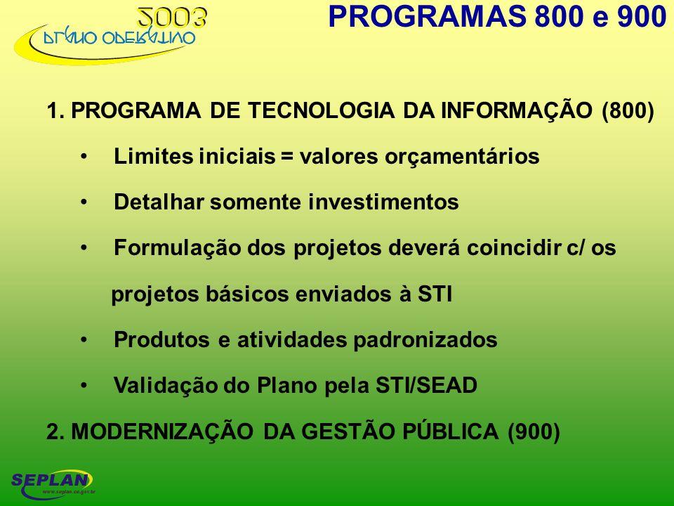 PROGRAMAS 800 e 900 1. PROGRAMA DE TECNOLOGIA DA INFORMAÇÃO (800)