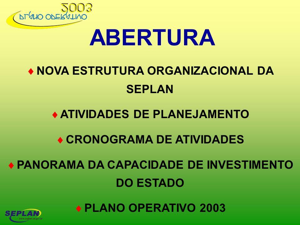 ABERTURA NOVA ESTRUTURA ORGANIZACIONAL DA SEPLAN