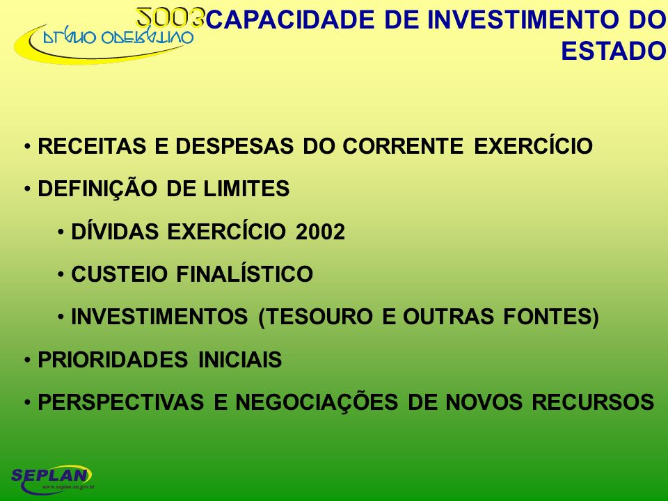 CAPACIDADE DE INVESTIMENTO DO ESTADO