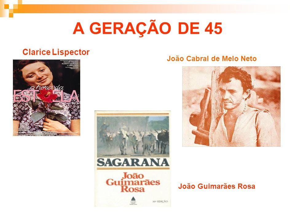 A GERAÇÃO DE 45 Clarice Lispector João Cabral de Melo Neto