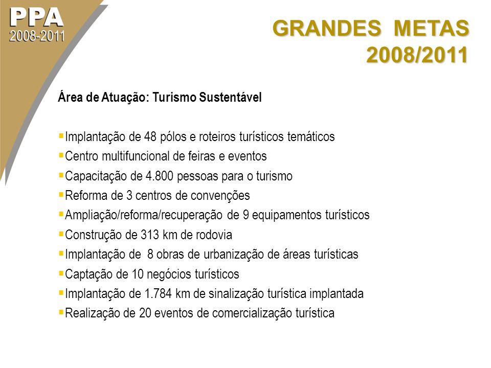 GRANDES METAS 2008/2011 Área de Atuação: Turismo Sustentável