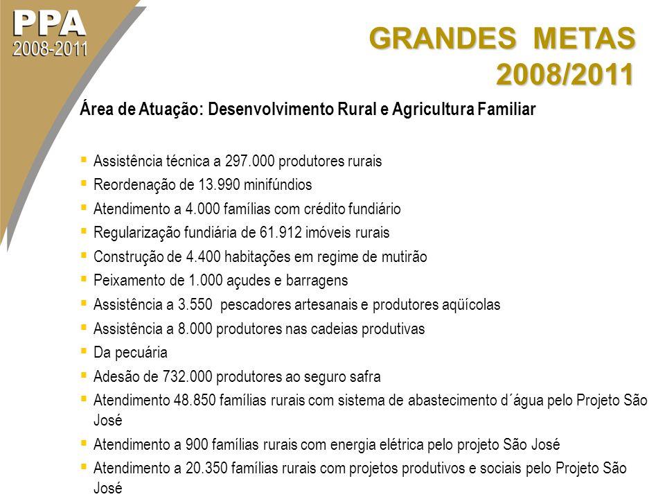 GRANDES METAS 2008/2011 Área de Atuação: Desenvolvimento Rural e Agricultura Familiar. Assistência técnica a 297.000 produtores rurais.