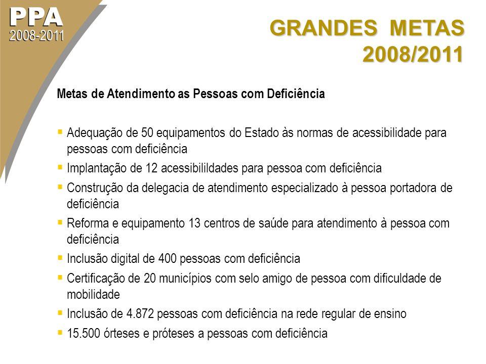 GRANDES METAS 2008/2011 Metas de Atendimento as Pessoas com Deficiência.
