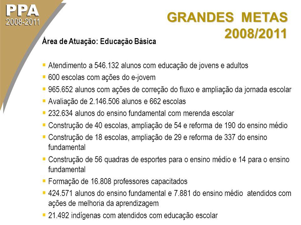 GRANDES METAS 2008/2011 Área de Atuação: Educação Básica