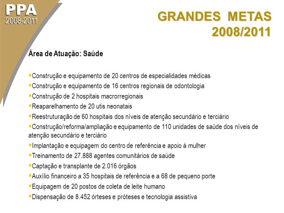 GRANDES METAS 2008/2011 Área de Atuação: Saúde