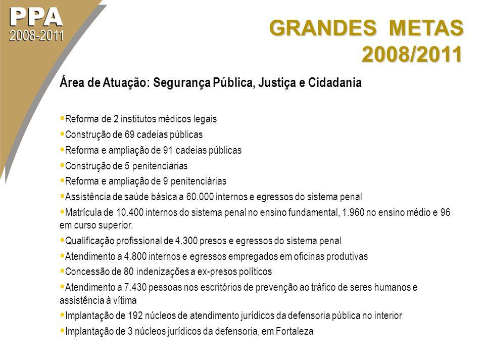 GRANDES METAS 2008/2011 Área de Atuação: Segurança Pública, Justiça e Cidadania. Reforma de 2 institutos médicos legais.
