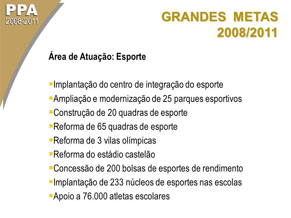 GRANDES METAS 2008/2011 Área de Atuação: Esporte