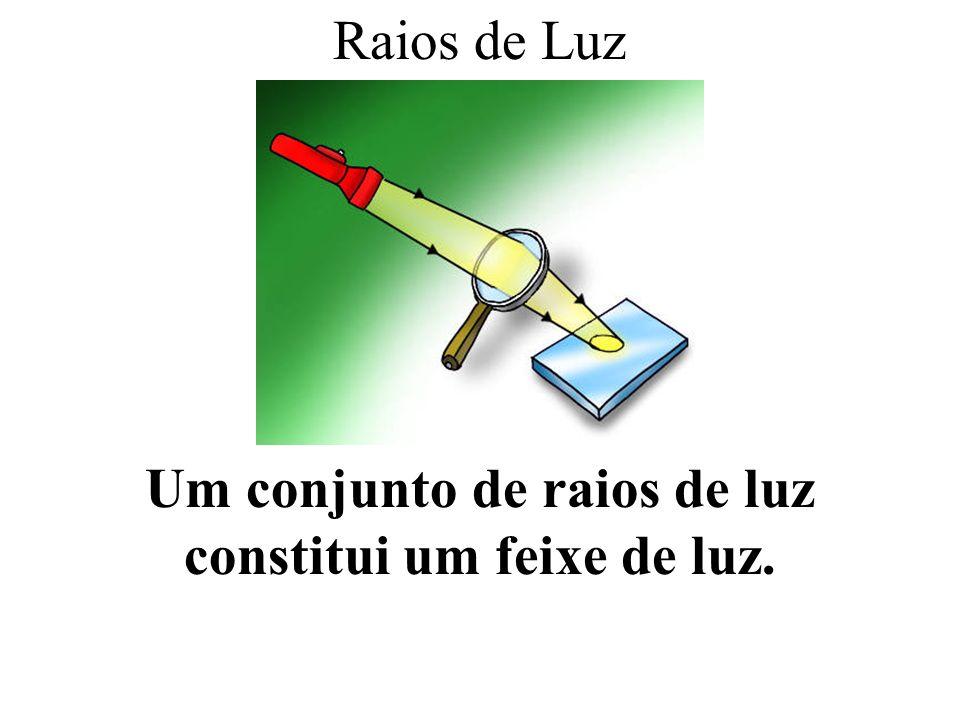 Um conjunto de raios de luz constitui um feixe de luz.