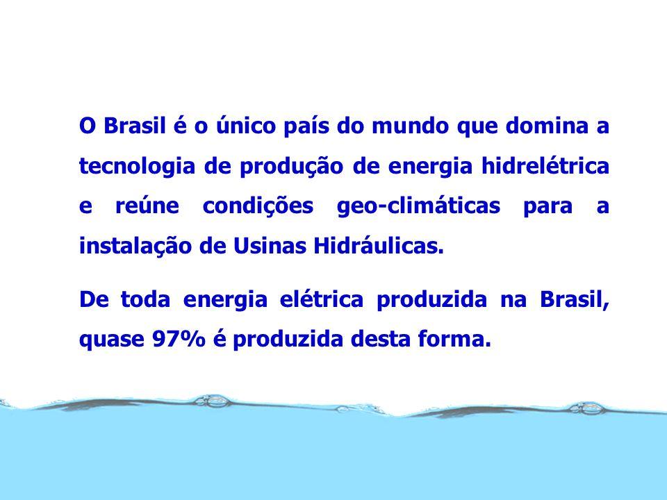 O Brasil é o único país do mundo que domina a tecnologia de produção de energia hidrelétrica e reúne condições geo-climáticas para a instalação de Usinas Hidráulicas.