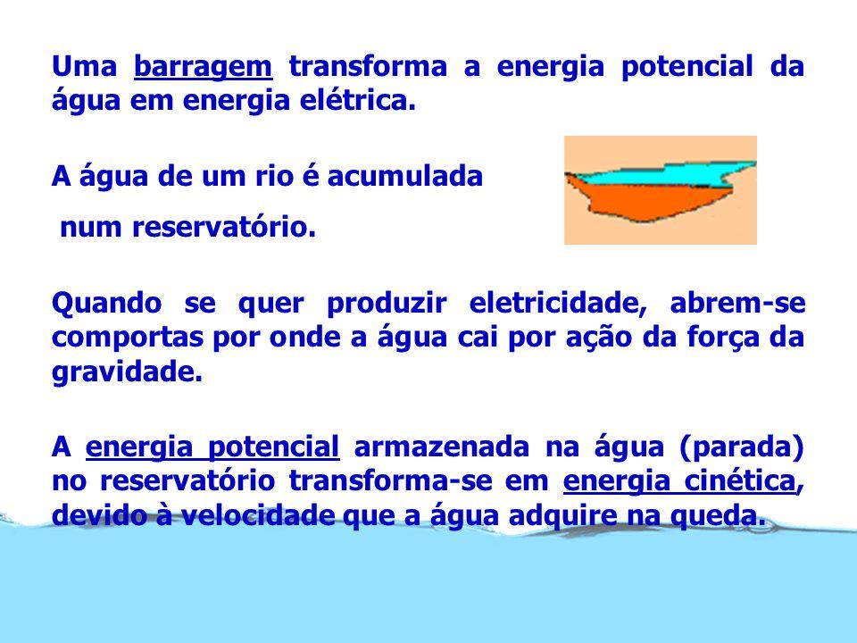 Uma barragem transforma a energia potencial da água em energia elétrica.