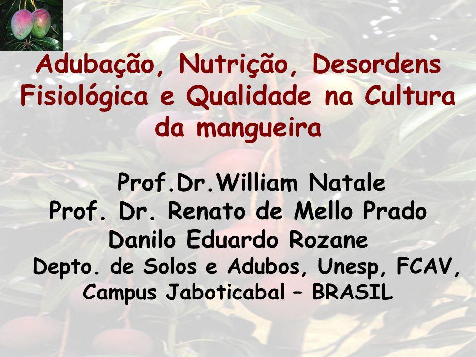 Adubação, Nutrição, Desordens Fisiológica e Qualidade na Cultura da mangueira Prof.Dr.William Natale Prof.