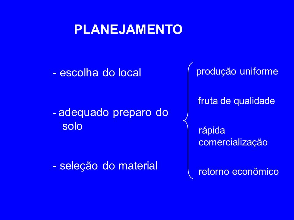 PLANEJAMENTO - escolha do local - seleção do material