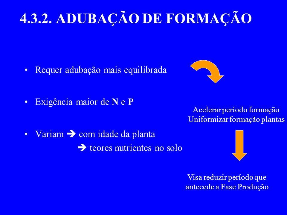 4.3.2. ADUBAÇÃO DE FORMAÇÃO Requer adubação mais equilibrada