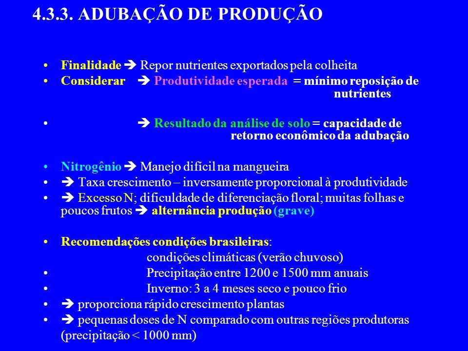 4.3.3. ADUBAÇÃO DE PRODUÇÃO Finalidade  Repor nutrientes exportados pela colheita.