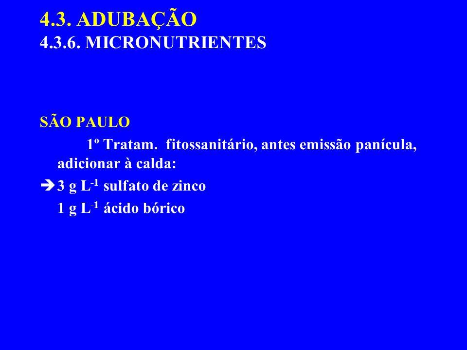 4.3. ADUBAÇÃO 4.3.6. MICRONUTRIENTES