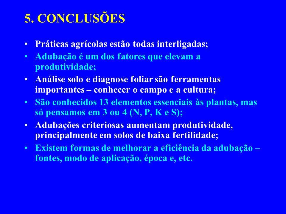 5. CONCLUSÕES Práticas agrícolas estão todas interligadas;