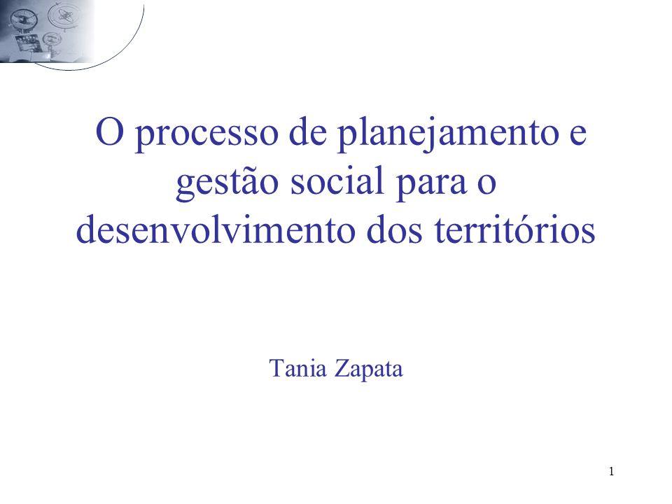 O processo de planejamento e gestão social para o desenvolvimento dos territórios Tania Zapata